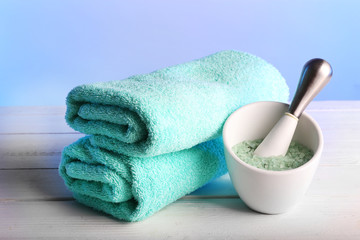 Terry towels with cup of sea salt
