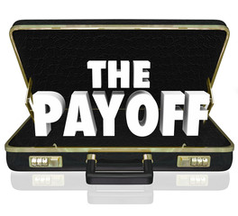 Payoff 3d Word Deal Benefit Contract Black Leather Briefcase