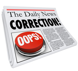 Correction Newspaper Error Mistake Reporting Fix Revision