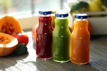 "Постер, картина, фотообои ""Bottles of juice with fruits and vegetables"""