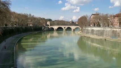 Landscape River Tiber Rome Bridge Italy City Monument