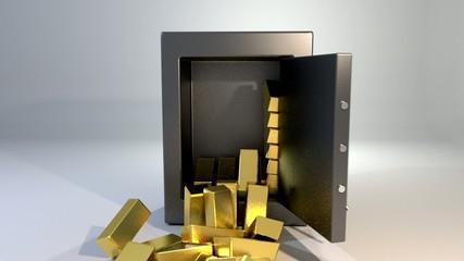 Safe vault opening spilling gold bars golden valuable win