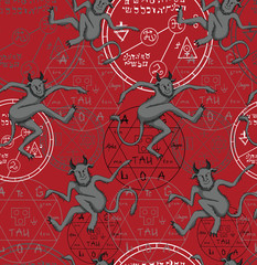 Seamless set with demons and magic symbols on red