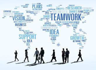 Global Business People Commuter Walking Teamwork Concept
