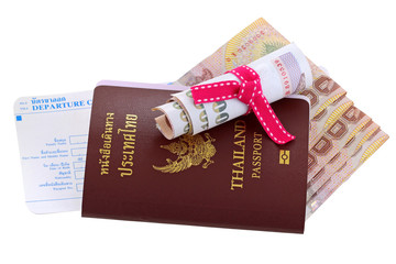 Thai e-passport with Thai Baht and departure card