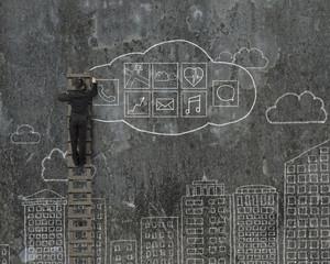 Man climbing and drawing cloud app icons doodles