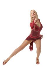 Graceful female performer of ballroom dancing