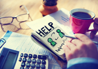 Businessman Notepad Help Word Concept