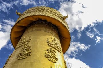 Mani wheel of Tibetan temple in Shangri la, Yunnan, China