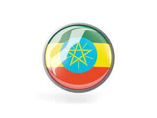 Round icon with flag of ethiopia