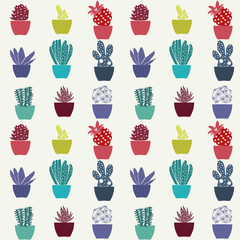 pattern of cactus house plants in pots