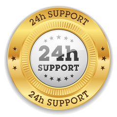 White 24h support button with gold border