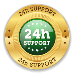 Green 24h support button with gold border
