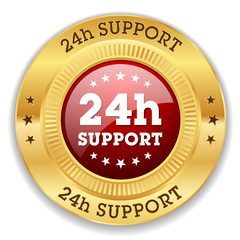 Red 24h support button with gold border