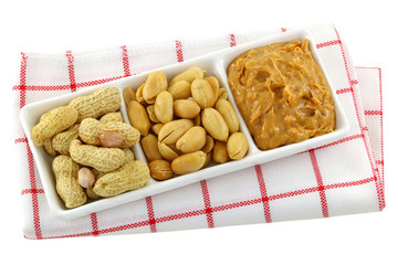 Roasted nuts, salted peanuts and peanut butter