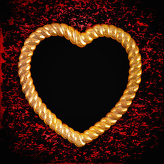 gold picture frame in shape of heart