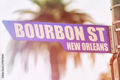 Fotobehang Caraïben Bourbon Street New Orleans Street Sign
