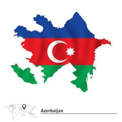 Map of Azerbaijan with flag