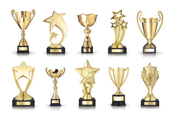 photos collection of cups trophies and stars awards