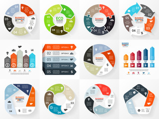 Vector circle arrows infographics set. Template for cycle