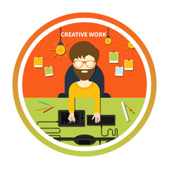 Creative work and designer tools concept