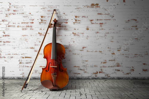 Leinwanddruck Bild classical violin in vintage background