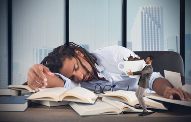 Tired manager needs caffeine