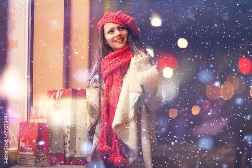 Leinwanddruck Bild Beauty buy Christmas night shopping discounts