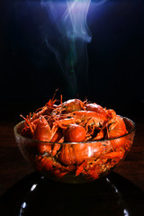 Isolated just boiled crayfish with vapor on it