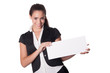 Happy young woman holds blank card - copyspace