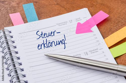 Terminkalender mit Hinweissticker - Steuererklärung - 79275027