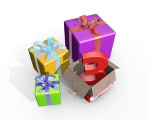 Cadeautjes uitpakken voor derde verjaardag