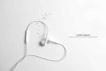 Earphone in shape of heart. on white background.