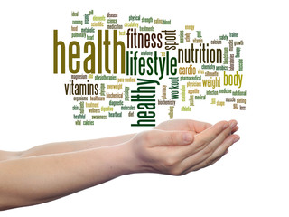 Conceptual health word cloud isolated