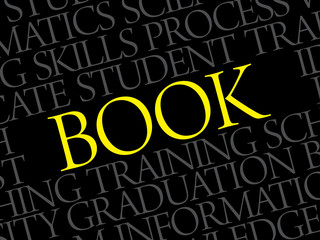 BOOK word cloud, education business concept