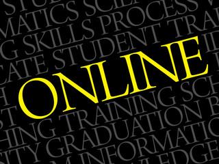 ONLINE word cloud, education business concept