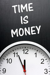 Time Is Money concept with a clock and blackboard
