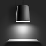 Black ceiling lamp. Vector