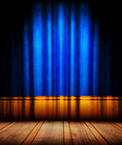 blue theater curtain