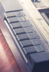 Closeup old cassette player