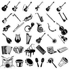 music instrument black icons