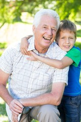 Happy grand father with his grandson
