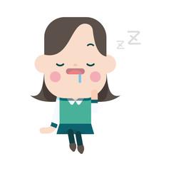 Character illustration design. Businesswoman dozing cartoon,eps