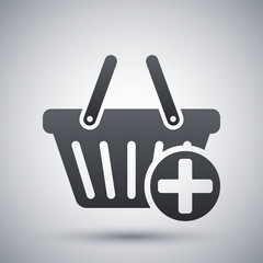 Vector add to shopping basket icon