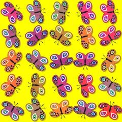 Seamless decorative butterflies pattern