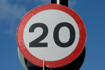 urban 20 miles per hour speed limit road sign