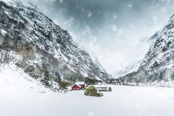 House in the mountains on winter