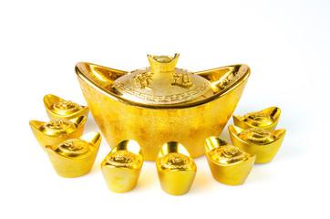 Chinese gold ingots decoration isolated on white background