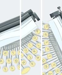 Vertical banner of illustration of typewriter.