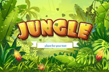 Illustration cartoon jungle with inscription and ribbon
